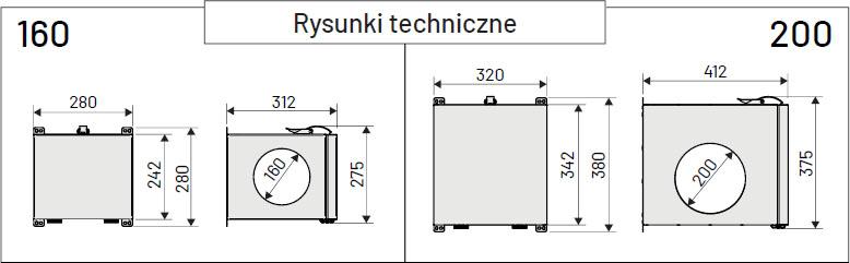 Antysmogowa izolowana skrzynka filtracyjna iZZiFAST 160 - wymiary