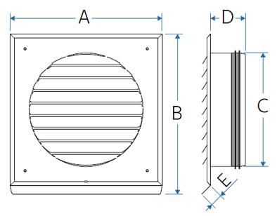 PE-FLEX - czerpnia / wyrzutnia płaska - schemat