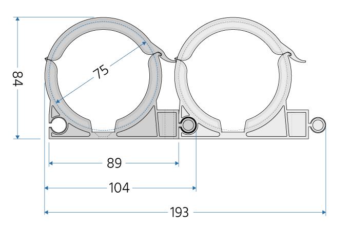 Uchwyty do rur wentylacyjnych fi 75 mm - wymiary